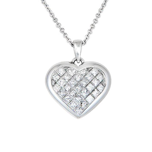 View Invisible Set Diamond Heart Pendant Set in 14k White Gold