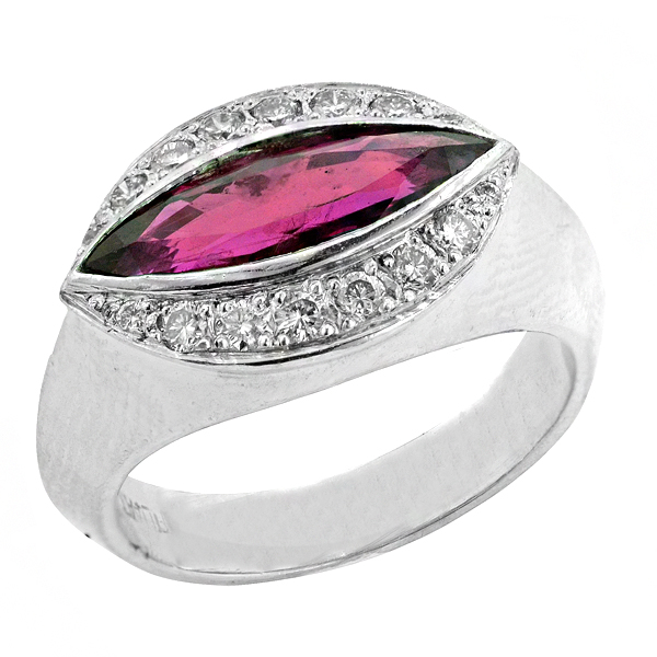 View Halo Style Marquise Shape Ruby and Diamond Ring in Platinum