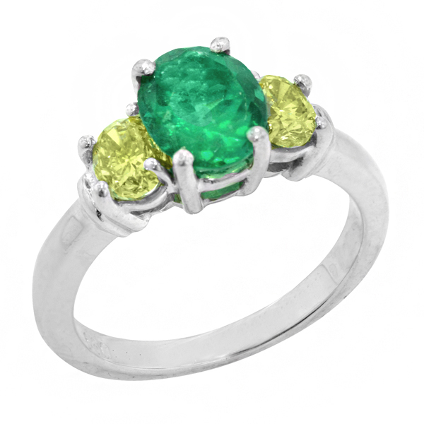 View Oval Three Stone Colombian Green Emerald and Natural Yellow Diamond Engagement Ring in Platinum