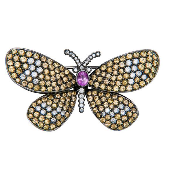 View Butterfly Design Pin With Yellow and Pink Sapphires and Diamonds