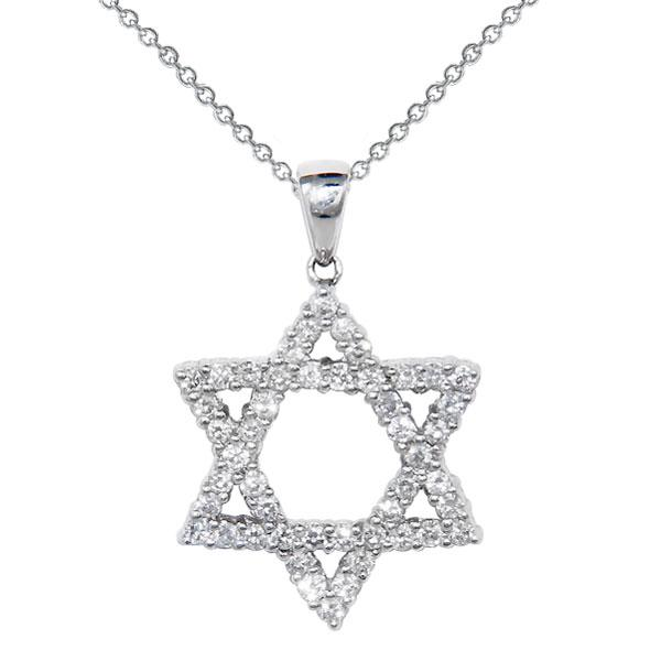 View Diamond Jewish Star Of David Set in 18k White Gold