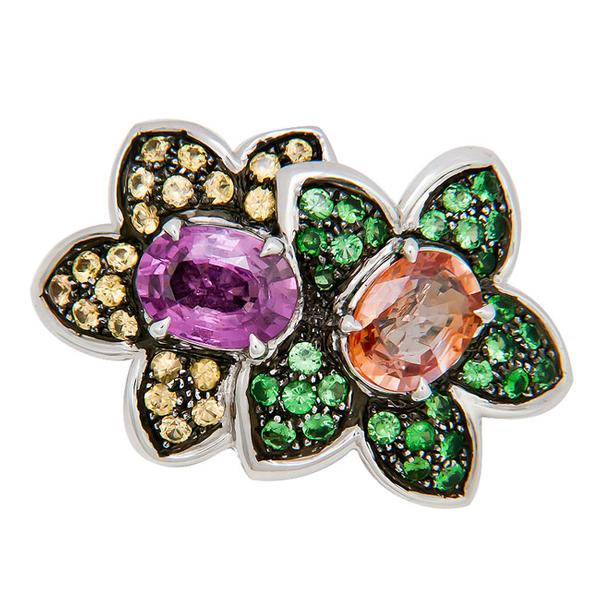 View Flower Pin Set With Assorted Natural Sapphires Dipped in Black Rodium