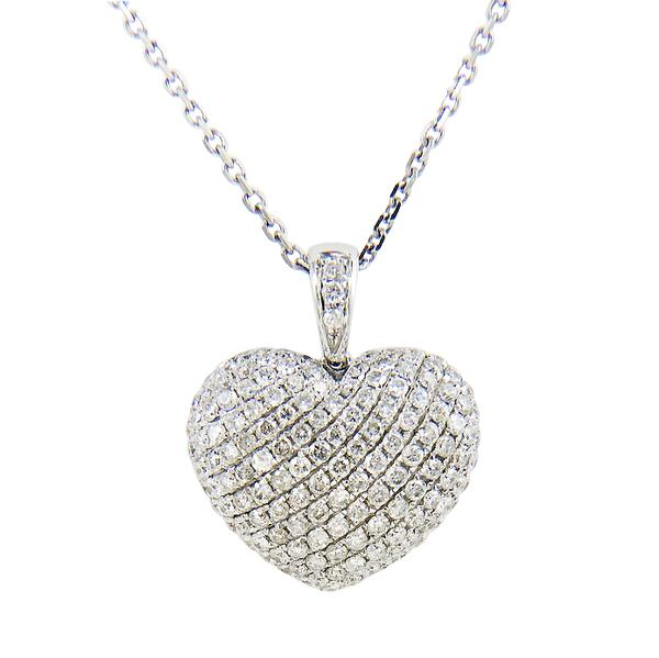 View Micro Pave Puff Diamond  Heart Set in 18K White Gold
