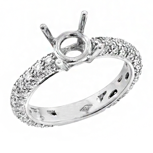 View Traditional Three Row Pave Diamond Engagement Ring in 18K White Gold