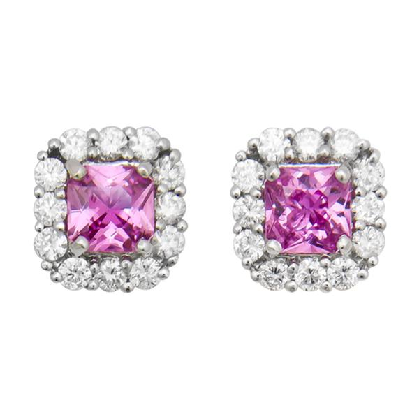 View Halo Design Pink Sapphire and Diamond Stud Earrings