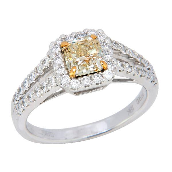 View Split Shank Halo Style Radiant Shape Natural Fancy Yellow and White Diamond Ring Set in 18k White Gold