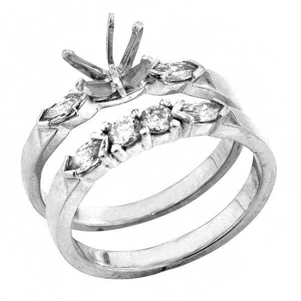 View Traditional Marquise and Round Bridal Set Engagement Ring in 18k White Gold