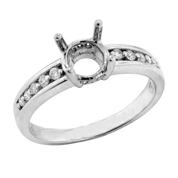 Traditional Two Prong Diamond Engagement Ring in 18K White Gold