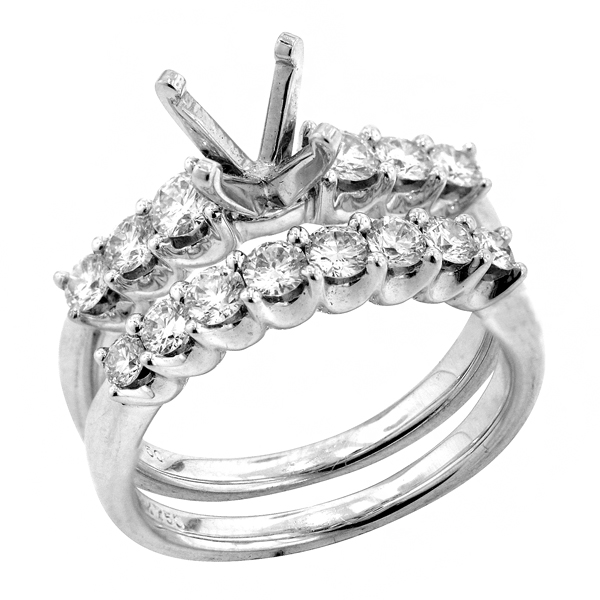 Bridal Set Engagement Ring in 18k White Gold