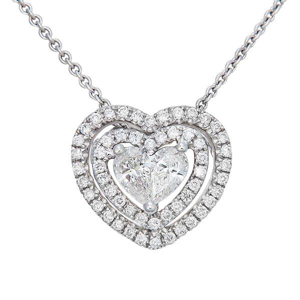 View Diamnd Heart Pendant Set in 18K White Gold
