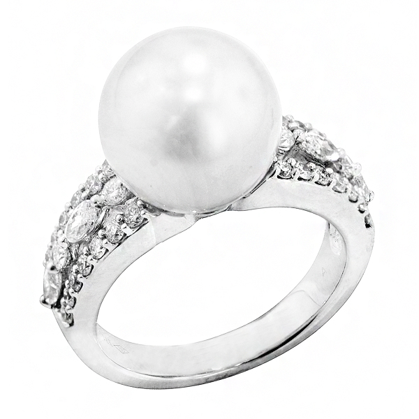 View South Sea Pearl and Diamond Ring in 18k White Gold