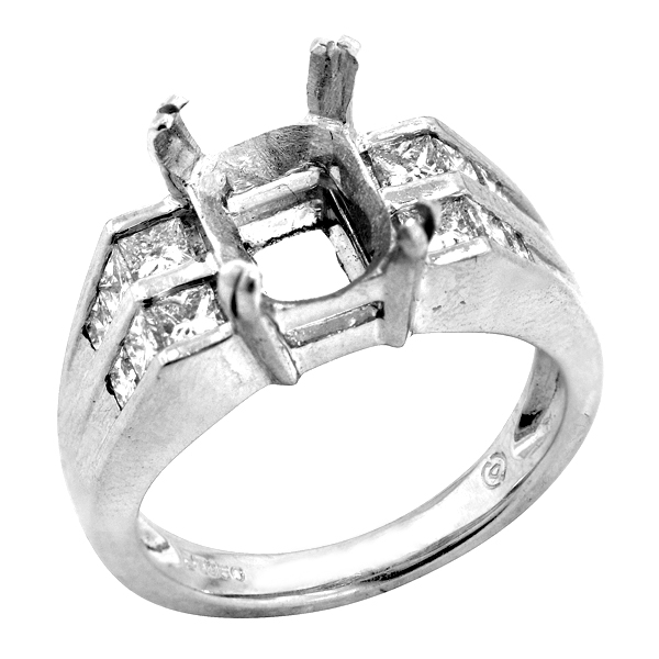 View Channel Set Two Row Diamond Engagment Ring Set in Platinum