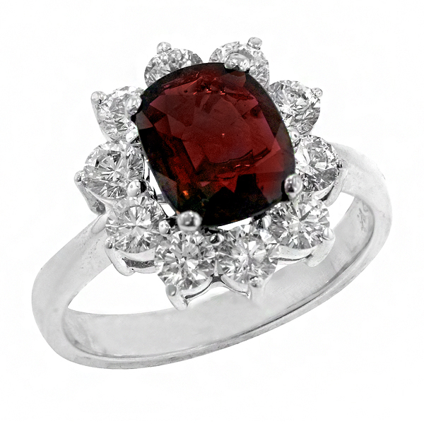 View Halo Style Oval Shape Ruby and Diamond Ring in 18k White Gold