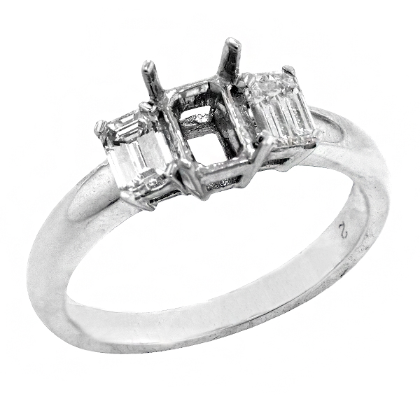 View Emerald Cut Three Stone Diamond Engagement Ring in 18k White Gold