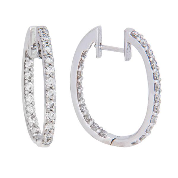 View Inside Outside Oval Shape Diamond Hoops Set in 18K White Gold