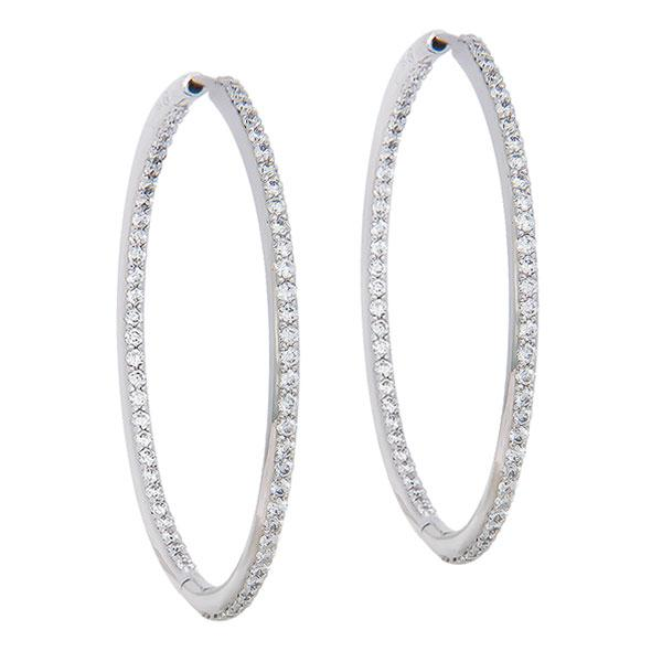 View Inside Outside Diamond Hoops Set in 18k White Gold