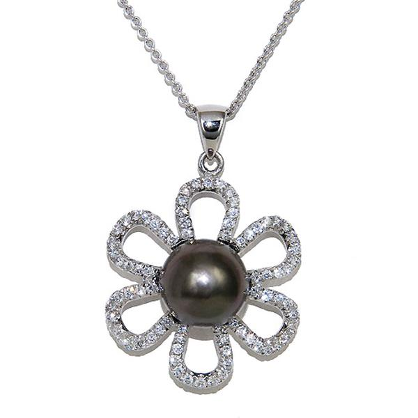 View Flower Design Black South Sea and Diamond Pendant Set in 18k White Gold