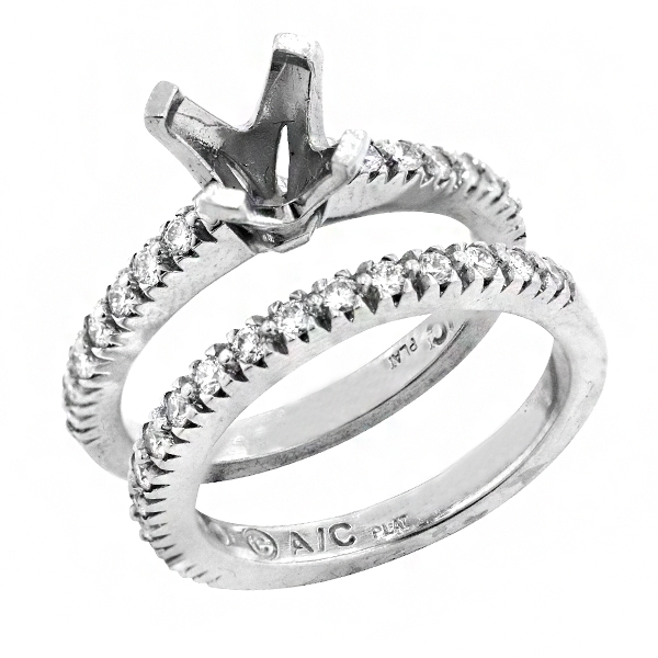 View Bridal Set Engagement Ring in Platinum