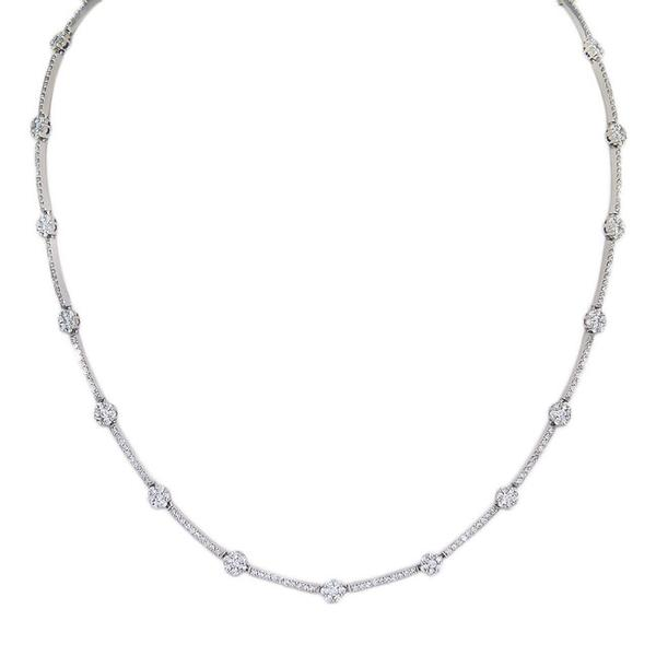View Diamond Tennis Necklace With a Flower Design Set in 18k White Gold