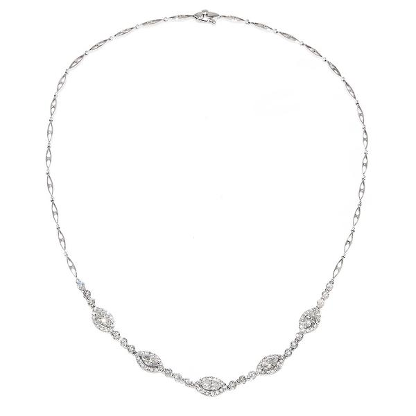 View Diamond Necklace Set in 18k White Gold