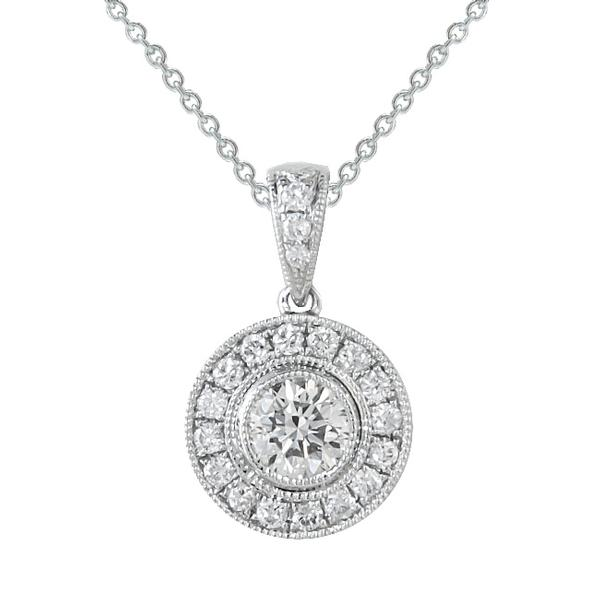 Rahmanims imports view diamond halo pendant set in 18k white gold aloadofball Gallery
