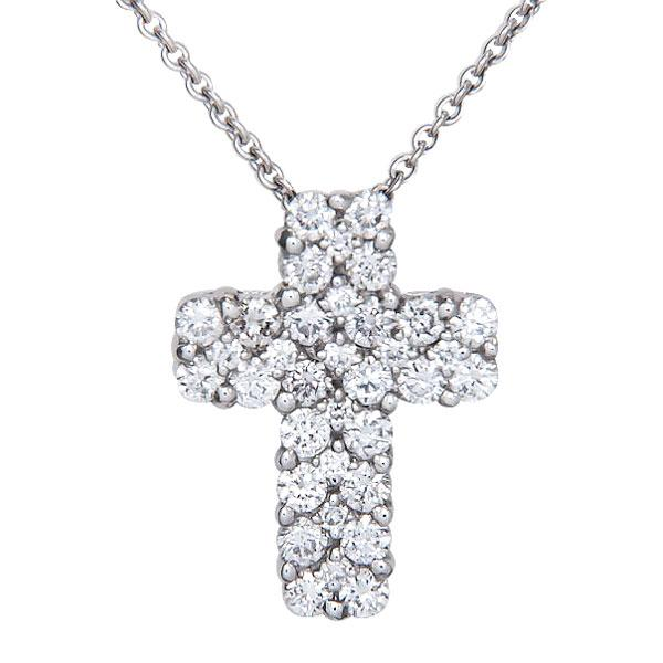 View Diamond Cross Pendant Set in 18k White Gold