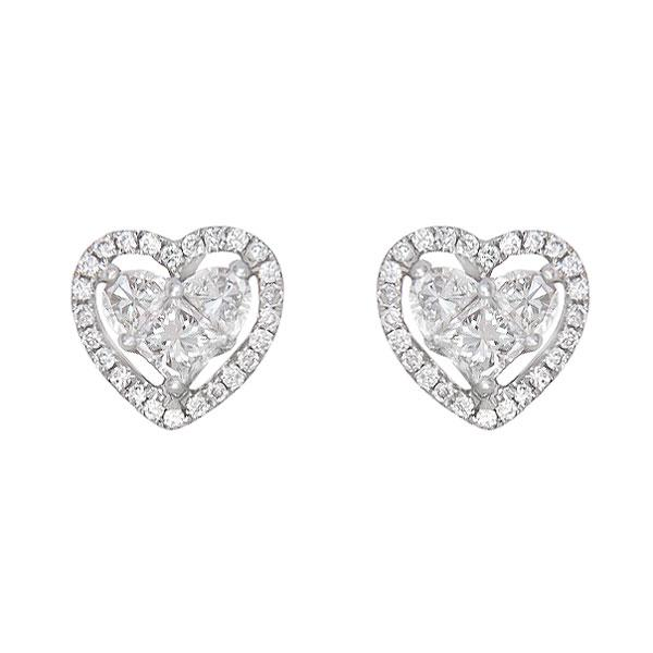 View Heart Shape Diamond Earings With Halo Set In 18K White Gold