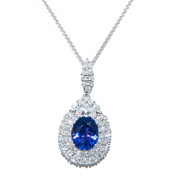 View 18k White GoldTanzanite and Diamond Pendant