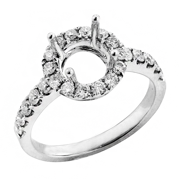 View Halo Diamond Engagement Ring in 18k White Gold