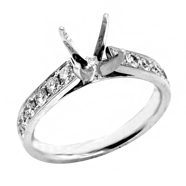 Traditional Four Prong Diamond Engagement Ring in 18K White Diamond