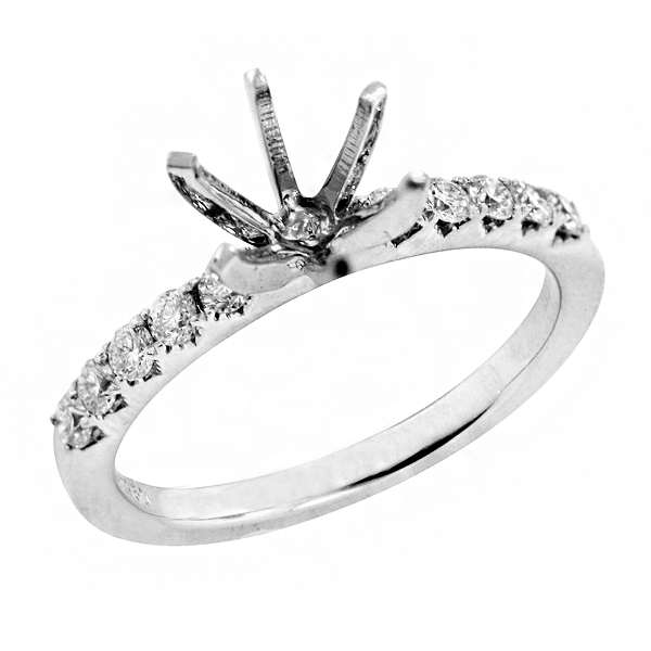 Traditional Four Prong Diamond Engagement Ring in 18K White Gold