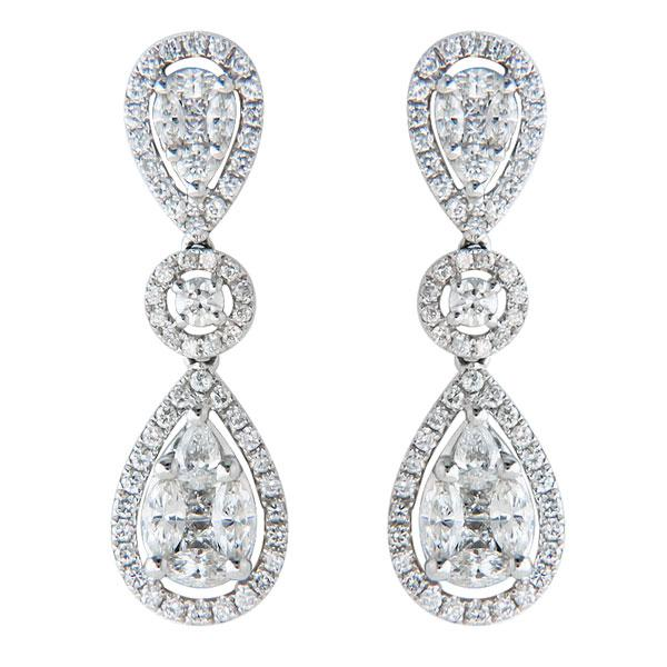 View Diamond Drop Illusion Earrings Set in 18K White Gold