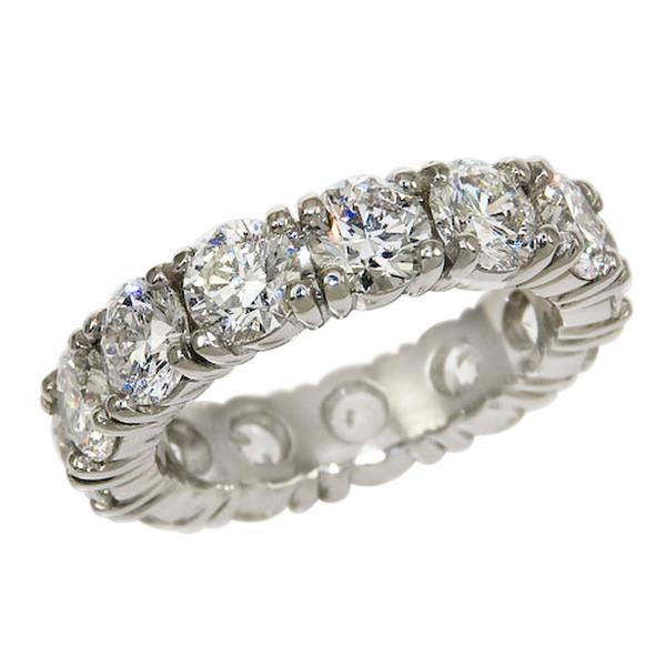 View Four Prong Diamond Eternity Band Set in Platinum