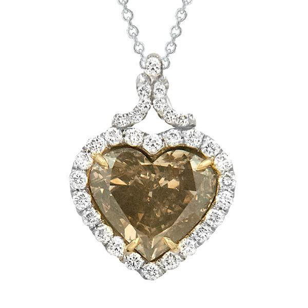View Platinum or 18k Yellow GoldNatural Champaign Color Diamond and Diamond Pendant