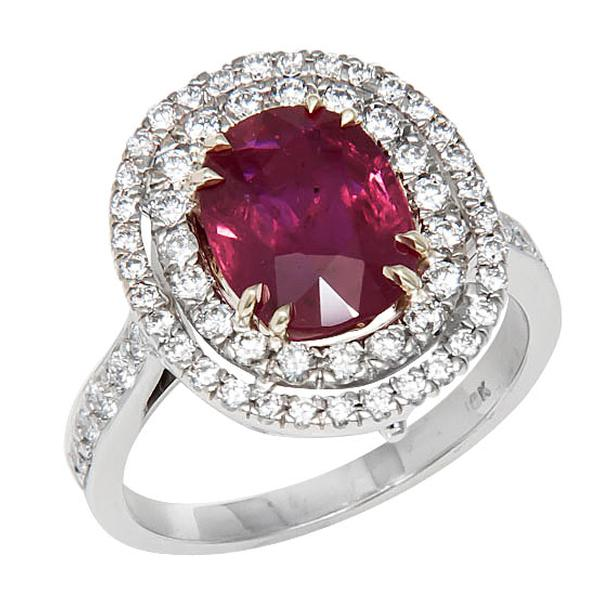 View Double Halo Style Oval Shape Ruby and Diamond Ring in 18k White and Yellow Gold