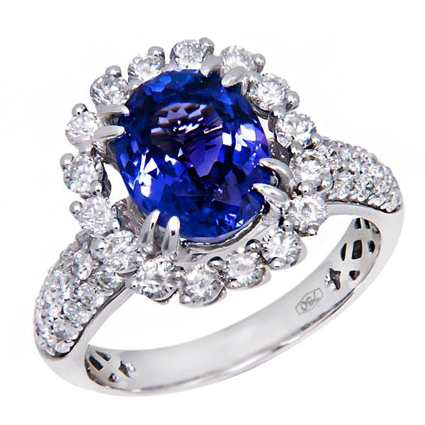 View Oval Shape Tanzanite and Diamond Ring Set in 18K White Gold