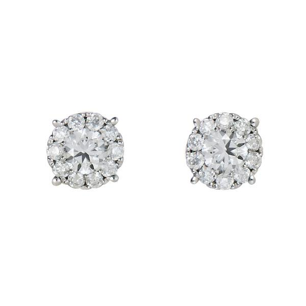 View Diamond Illusion Studs Set in 18K White Gold