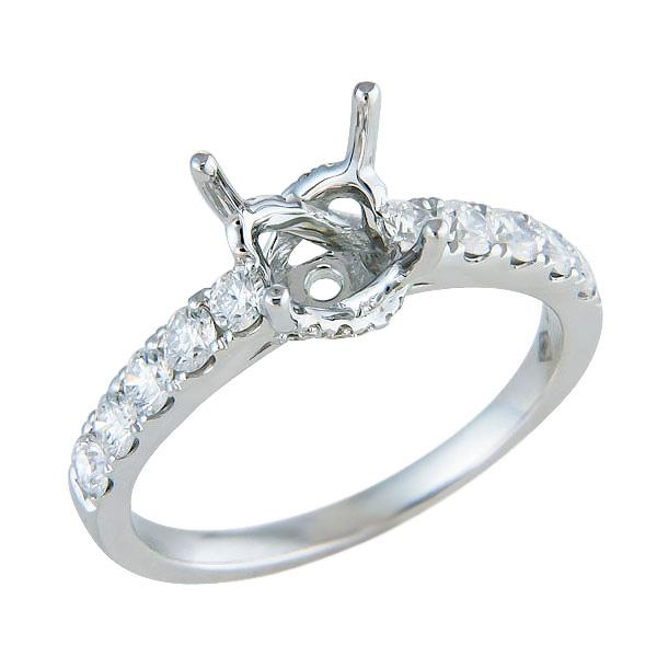 Traditional Two Prong Share Diamond Engagement Ring in 18K White Gold