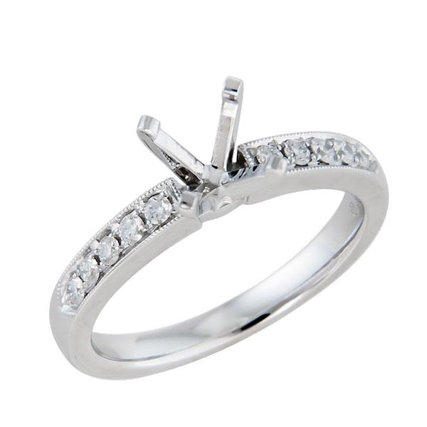 View Traditional Split Shank Two Row Micropave Diamond Engagement Ring in 18k White Gold