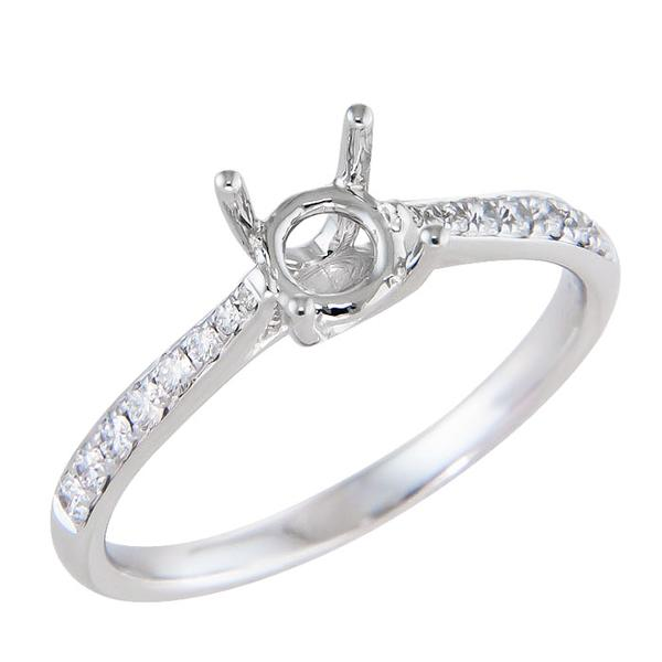 View Traditional Four Prong Diamond Engagement Ring in 18K White Gold