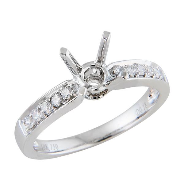View Traditional Round Diamond Engagement Ring Set in 18K White Gold
