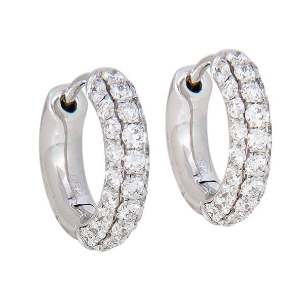 View Three Row Micro Pave Diamond Huggies Set in 18k White Gold