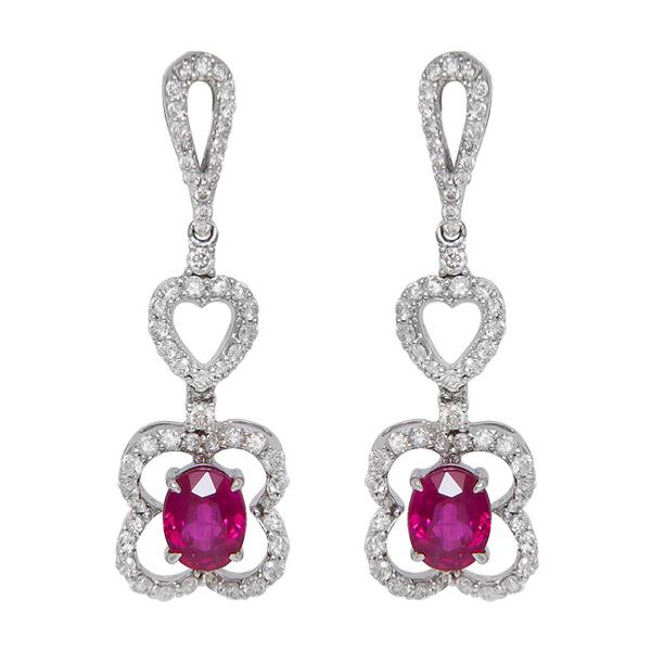 View Ruby and Diamond Dangling Earrings Set in 18k White Gold