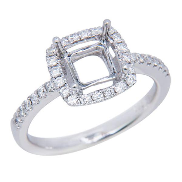 View Cushion Cut Halo Diamond Engagement Ring in 18k White Gold