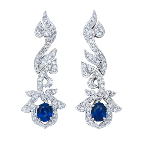 View Antique Look Sapphire and Diamond Dangle Earrings Set in 18k White Gold