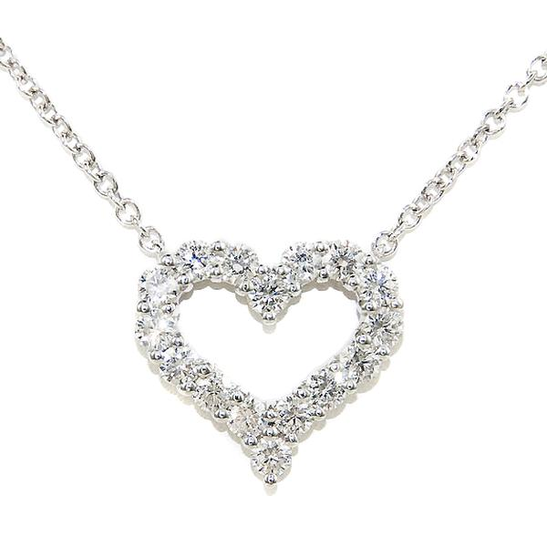 View Diamond Heart Necklace Set in Platinum
