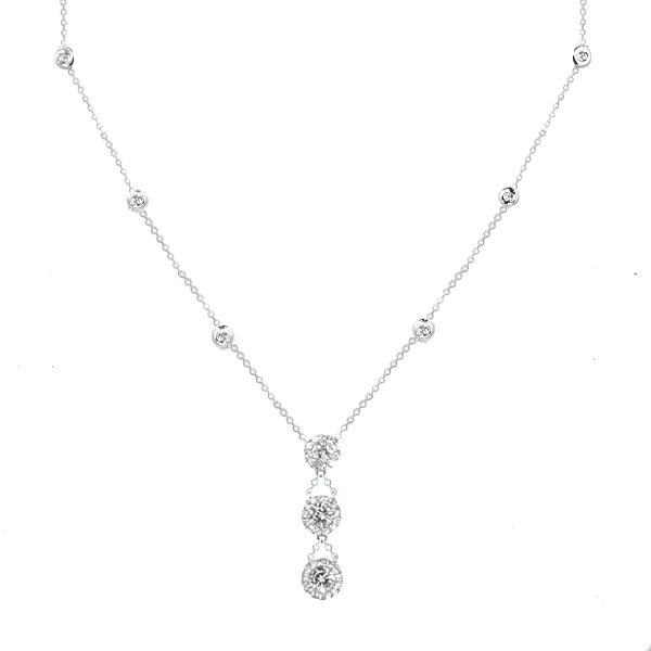 View Three Stone Halo Style Diamond Necklace on a Diamond By The Yard Chain Set in 18K White Gold