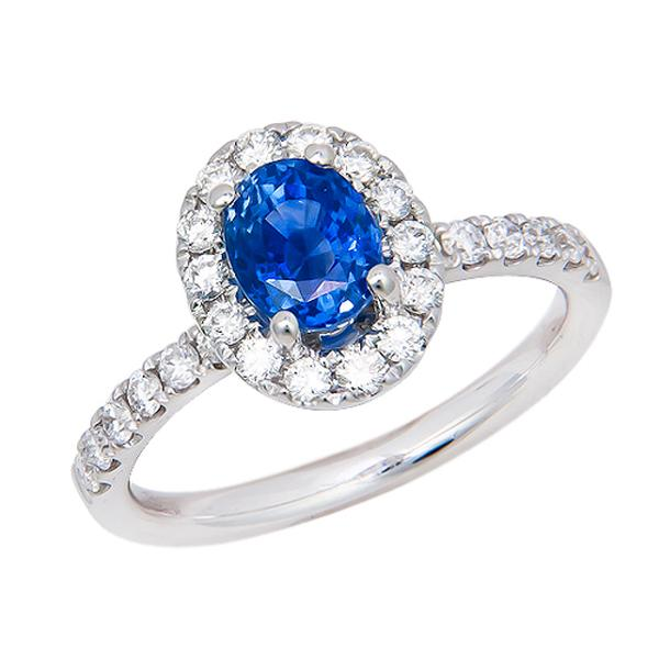 View Halo Style Sapphire and Diamond Ring Set in 18k White Gold