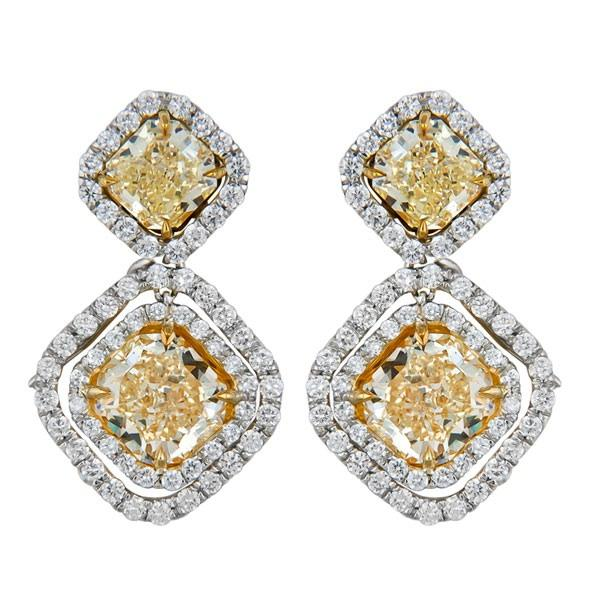 View Natural GIA Certified Fancy Yellow and Fancy Light Yellow Diamond Earrings Set in Platinum and 18K Yellow.  One Earring Three Looks!!!