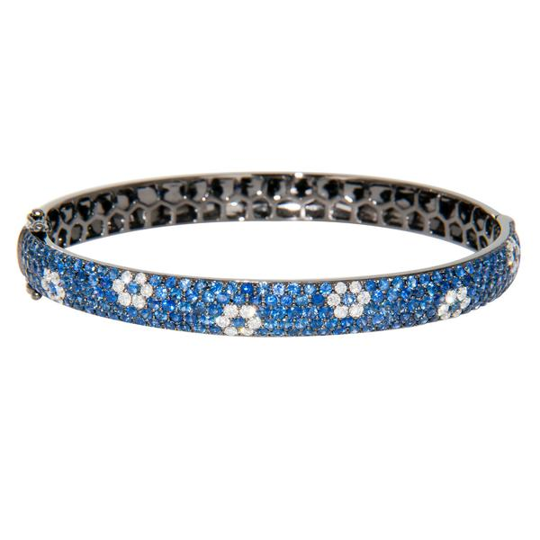 View Sapphire and Diamond Flower Design Bangle Bracelet Set in 18K White Gold with Black Rhodium